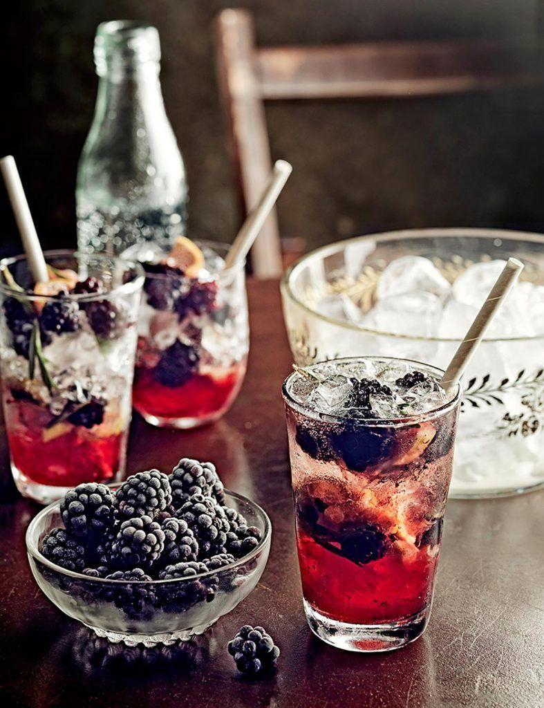 Berry & rosemary juniper gin fizz
