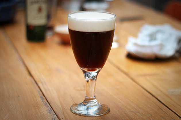 Irish coffee with cream on top