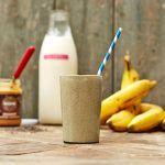 homemade protein shake with milk, peanut butter and bananas
