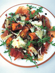 Warm salad of roasted squash, prosciutto & pecorino