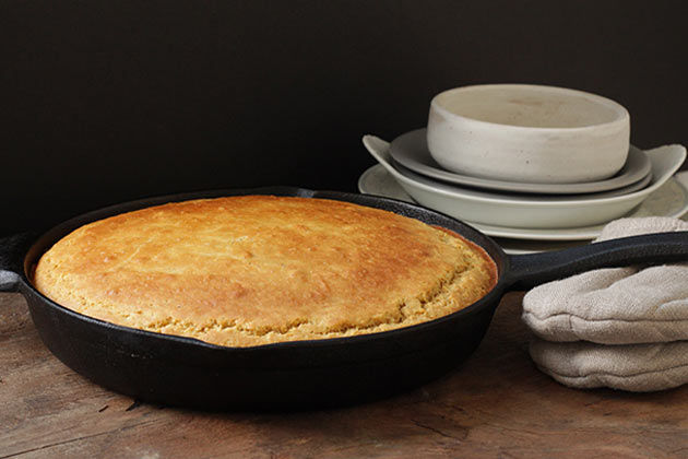 gluten-free cornbread cooked in a pan