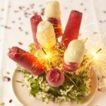 fruit smoothie ice lollies with sparklers