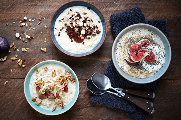 how to make perfect porridge - 3 bowls of porridge with different toppings