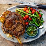 british roast with asparagus and tomatoes
