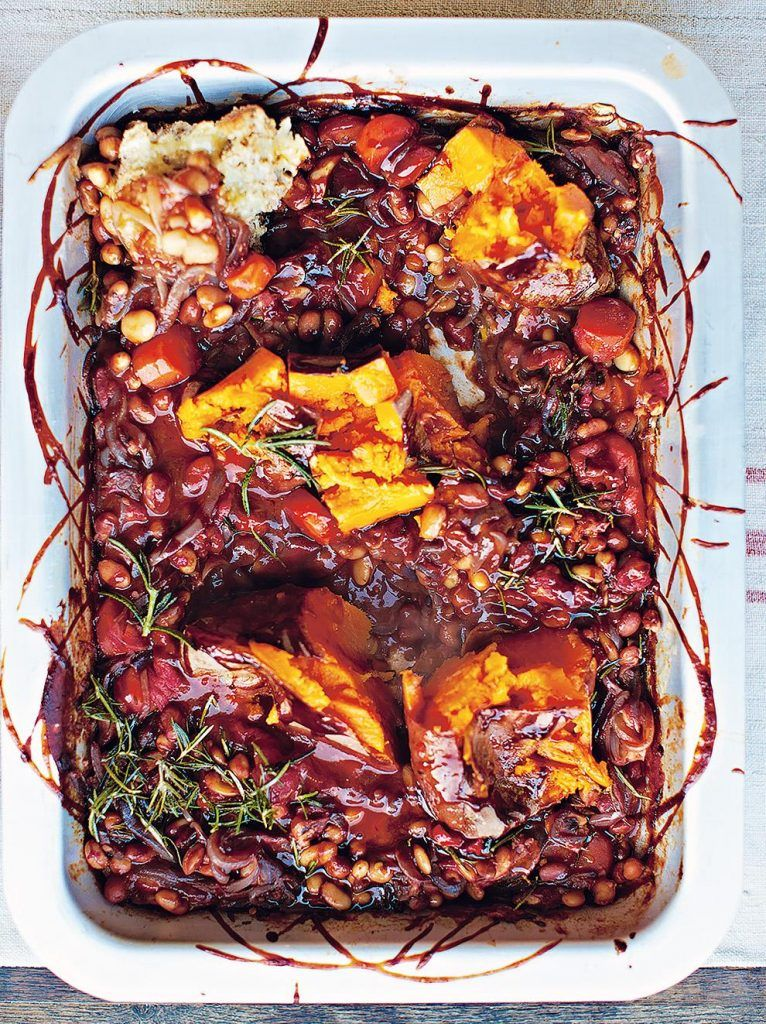 BBQ baked beans with smashed sweet potato