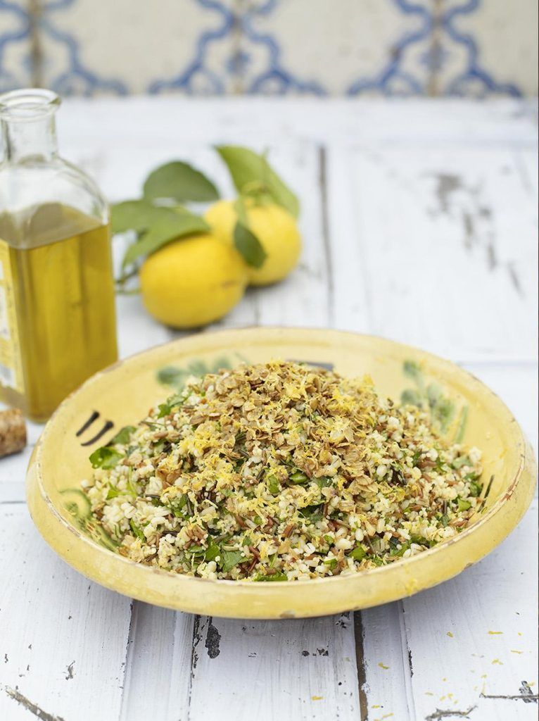 Summer four grain salad with garlic, lemon and herbs