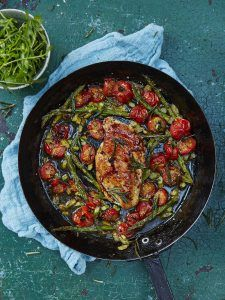 Roasted chicken with cherry tomatoes