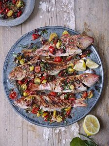 Barbecued red mullet