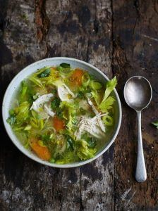 Poached chicken and vegetable soup