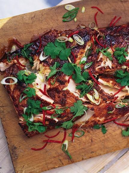 Marinated and grilled salmon