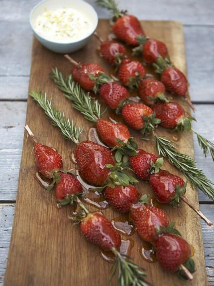 Caramelised strawberry dipping kebabs