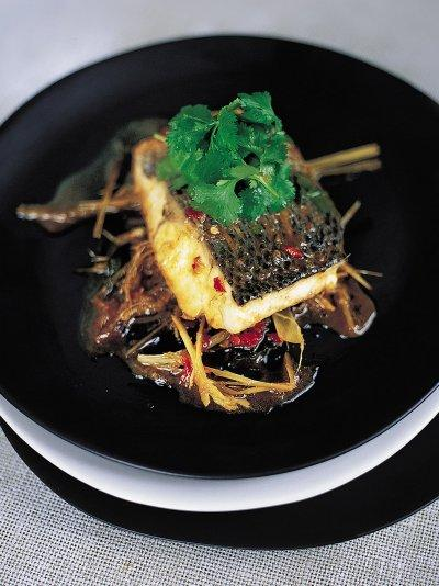 Steamed Asian sea bass in the bag