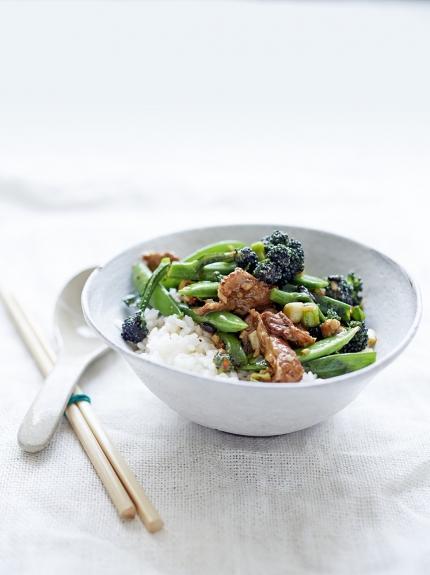 Pork, spring green & black bean stir-fry