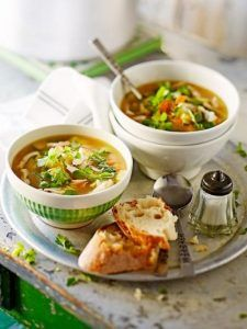 Chicken soup with spring veg & pasta