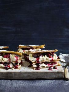 Mixed berry filo millefeuille