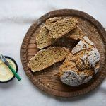 soda bread recipe on a board with butter
