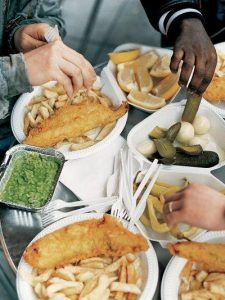 Fish, chips & mushy peas