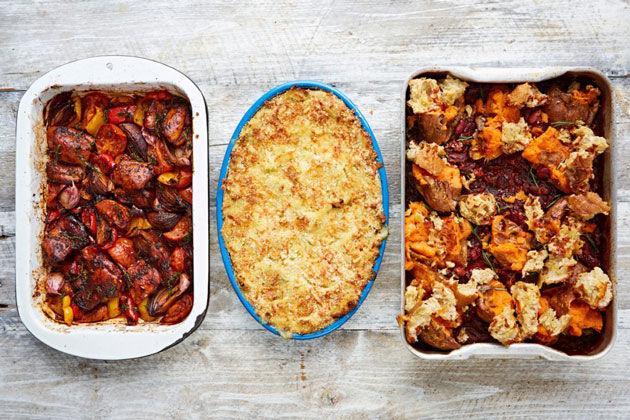 roast tray bake dinners - roasted veg, roasted shepherds pie