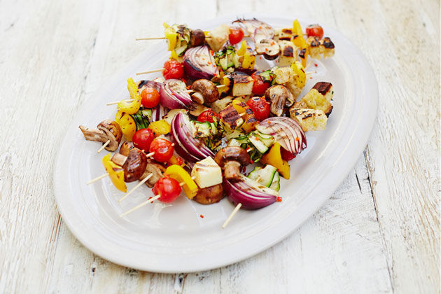 vegetable kebabs on skewers from the bbq