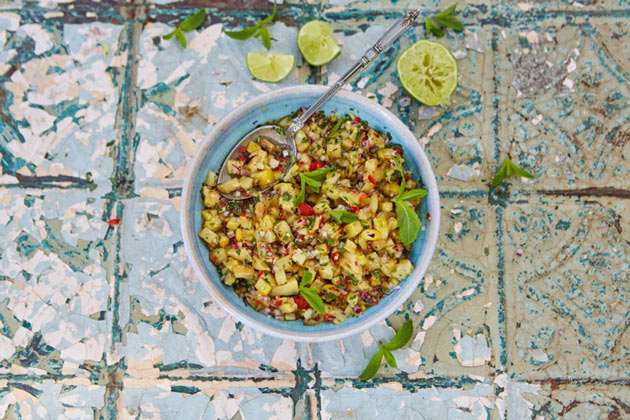 pineapple salsa homemade recipe in a bowl
