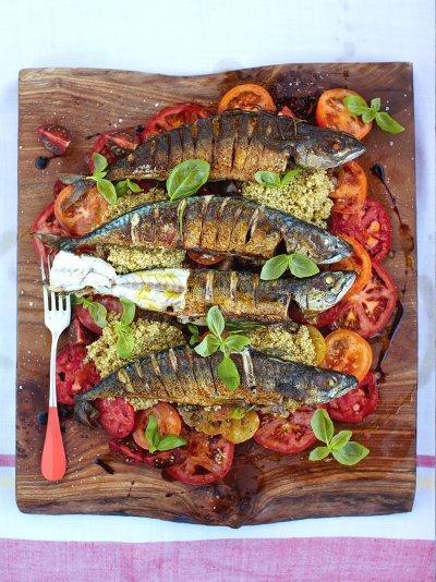 Might mackerel with mixed tomato & quinoa salad