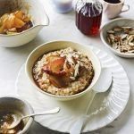 glazed apple on oats and porridge with syrup on the side