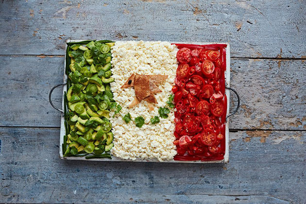 food shaped into a flag in a tray