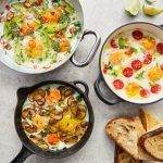 baked eggs 3 ways with bread on the side