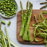 asparagus recipes - being chopped on chopping board