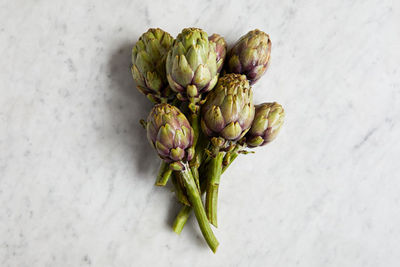 Artichokes on a marble table