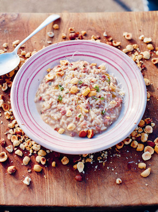 risotto dish with herbs and veg