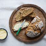 No-yeast bread - soda bread on a wooden board