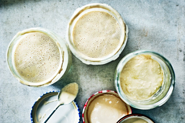Pots of sourdough starter