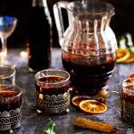 Glasses of Mulled wine on on a table - the perfect winter drink