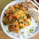 Pumpkin chickpea coconut curry in a bowl. How to make the most of tinned food