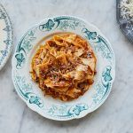Pappardelle recipes - wild boar ragu piled on a plate