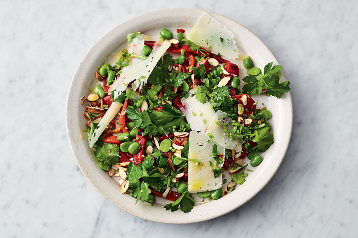 Jamie's broad bean recipes - broad bean salad on a white plate