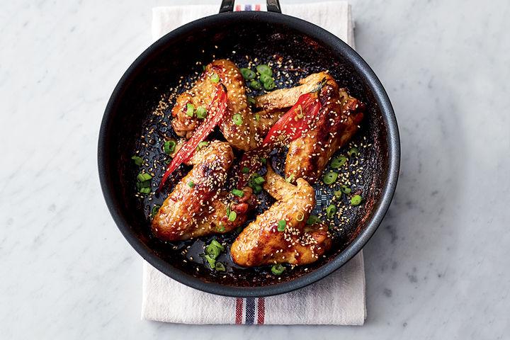 Sticky kickin' chicken wing recipe