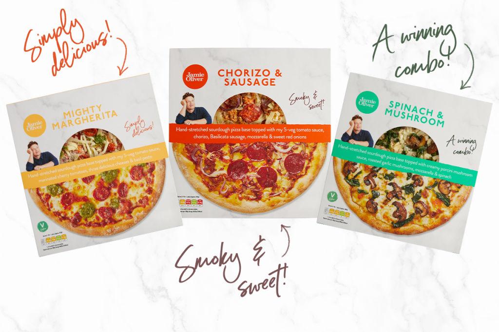 Jamie's new pizza range, available at Tesco