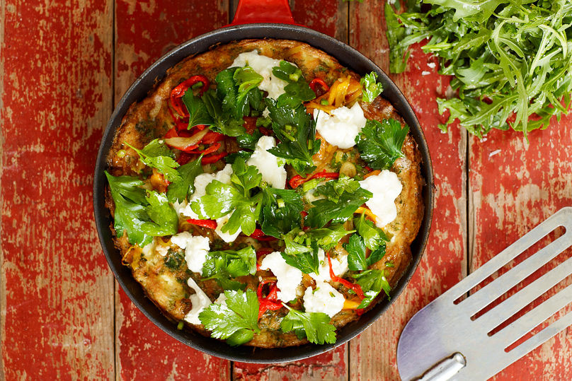 Dinner ideas for one - a roasted chilli frittata recipe