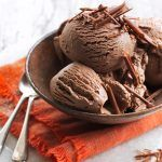 ice-cream recipes - chocolate ice cream in a bowl with two spoons on the side