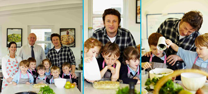 Jamie cooking with kids and family
