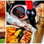 USA blog - burger with lettuce and sauce and veg and wine
