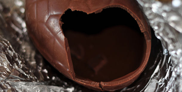 easter chocolate eggs cracked in silver foil