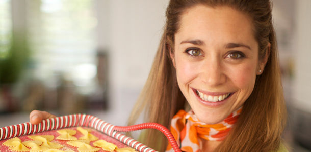 micheala posing with pasta