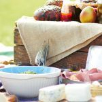 Picnic ideas set out with bread and cheese