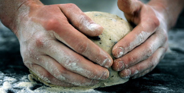 bread being kneaded by a chef
