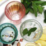 herbal tea infused in glass tumblers