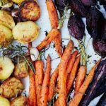 roasted veg flat lay