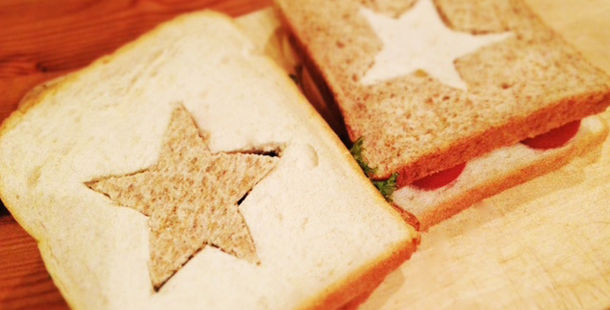 sandwiches with stars cut into them